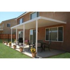 Integra 22 Ft. X 10 Ft. White Aluminum Attached Solid Patio Cover With 5  Posts (20 Lbs. Live Load)