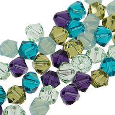 4mm crystal mix: Chrysolite, Khaki, Pacific Opal, Blue Zircon and Purple Velvet