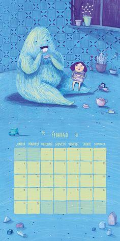 Febrero / Ilustración y diseño para calendario 2017 de juguetería Cittá del sole, Italia. Témperas y lápices de colores.