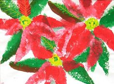 sponge painted poinsettias- grade 3
