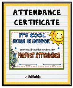 """Acknowledge your students perfect attendance by presenting them with this editable """"Attendance"""" Certificate! It can also be purchased as part of a set. Certificate Format, Education Certificate, Award Certificates, Certificate Templates, School Welcome Bulletin Boards, Perfect Attendance Certificate, Potluck Invitation, Award Template"""