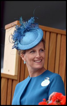 Sophie Countess of Wessex sported sky blue from head to two when she donned this leaf-embellished topper.