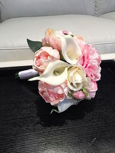 A personal favorite from my Etsy shop https://www.etsy.com/listing/261781762/pink-peony-bridal-bouquet-white-and-pink