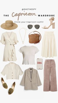 The star sign wardrobe series Vintage Style Outfits, Classy Outfits, New Outfits, Summer Outfits, Casual Outfits, Cute Outfits, Vintage Fashion, Fashion Outfits, Vacation Outfits