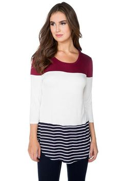 Colourblock Top with Shirttail Hem Canadian Clothing, Tunic Tops, Blouse, Long Sleeve, Model, Sleeves, Clothes, Fashion, Outfits