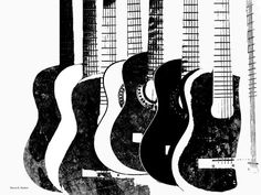 POP Art Black And White Guitars Digital Print by GrayWolfGallery