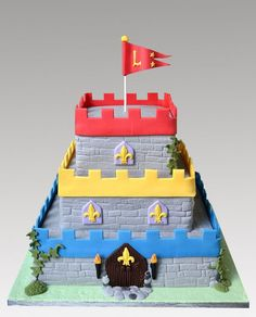 Castle Cake for boys castles and dragons themed birthday party!