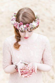 Pastellfarbene Königsprotea Brautinspiration