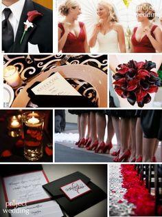 Red, black  white wedding.