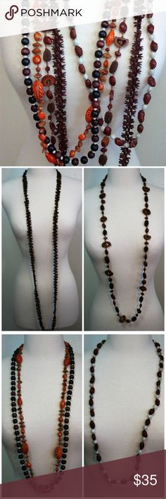 """LOT of 4 Nut and Seed Vegan Hippie Necklaces Includes: * Dark Acacia Koa Seed Slip On Necklace - 62"""" total length (31"""" when doubled around your neck) * Sliced Nut Slip On Necklace - 47"""" total length (23 1/2"""" when doubled around your neck) * 2 Strand Adjustable Seed, Nut and Bead Slip On Necklace - 40"""" total length * Brown and White Slip On Necklace - 37"""" total length (18 1/2"""" when doubled around your neck)  Vintage pieces - all in clean condition with no damage. Vintage Jewelry Necklaces"""