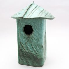 Stoneware Bird House-Ceramic Bird House-Home by cherylwolffgarden