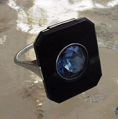 Sterling Silver, Onyx & Paste Art Deco Ring, 1930's.