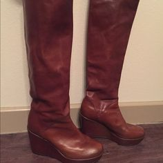 Stuart Weitzman to the knee leather boots Never worn, great condition, I just never wear anything but black apparently!  they are very comfortable and have no damage to them. Stuart Weitzman Shoes Heeled Boots