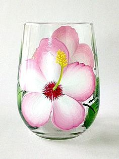 Stargazer lilies with deep pink with white edged petals, deep burgandy speckling and deep green leaves hand-painted encircling a quality 17 oz stemless wine glass. Sealed and heat-cured for added dura Decorated Wine Glasses, Hand Painted Wine Glasses, Painted Wine Bottles, Bottle Painting, Bottle Art, Wine Bottle Glasses, Glass Painting Designs, White Hibiscus, Glass Art