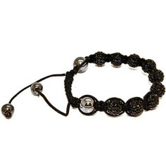 Blue Chip Unlimited - Unisex Black 10mm Pave Crystal Bead Shamballa Bracelet Fashion Jewelry Blue Chip Unlimited. $29.95. unisex hip hop bracelet. macrame toggle lock. heavy duty adjustable nylon cord. symbolizes peace, tranquility, happieness & oneness. 10mm pave crystal disco ball beads. Save 70% Off!
