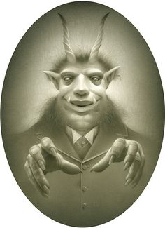 """This fastidious Krampus always has a pair of disembodied hands levitating in front of it, constantly gesturing like some vaudeville magician (at times, even performing """"slight of hand"""" tricks). For the most part, he uses his hypnotic gaze to put children into a trance, convincing them that they are chickens or chartered accountants working for a firm about to be audited by some large, ruthless government agency (scary stuff). When really bored, he simply distracts them while his disembodied h..."""