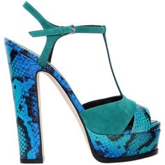 Sergio Rossi Women 150mm Edwige Elaphe & Suede Sandals ($955) ❤ liked on Polyvore featuring shoes, sandals, turquoise, suede sandals, high heel shoes, sergio rossi shoes, suede shoes and high heeled footwear