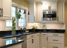 Another view of this beautiful kitchen update featuring pendants, one of my signature designs, that adds that wow factor. Custom Kitchens, Home Kitchens, Birmingham, Updated Kitchen, Signature Design, Beautiful Kitchens, Michigan, Kitchen Cabinets, Livingston