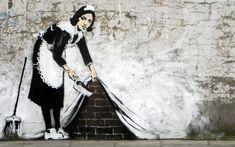 One Eyeland. Obra del artista urbano Banksy, reconocido por sus  piezas satíricas sobre política, cultura pop, moralidad y etnias