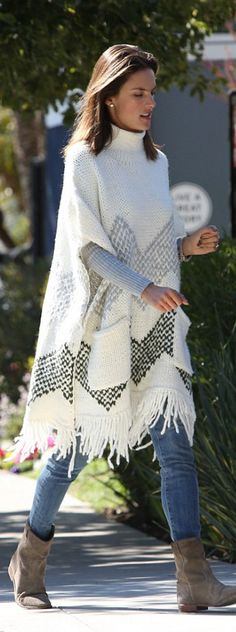 Who made Alessandra Ambrosio's brown suede ankle boots, fringe poncho sweater, tan suede handbag, and sunglasses? Brown Suede Boots, Suede Ankle Boots, Clothes Encounters, Suede Handbags, Poncho Sweater, Alessandra Ambrosio, Pullover, Fashion Models, Nice Dresses