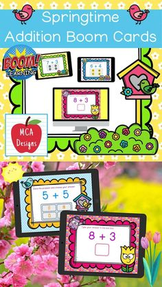 My Springtime Addition Digital Task Card set includes 40 task cards which are accessed via Boom Learning. Each digital task cards focuses basic addition facts 0-20. All task cards are accented with bright colors and springtime themed graphics. #teacherspayteachers #tpt #boomcards #boomlearning #spring