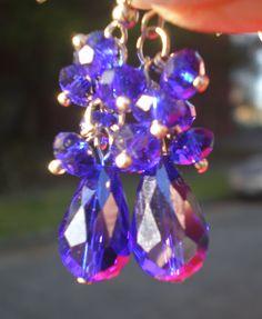 Earrings Royal Blue Swarski Crystal Dangles Large by BagsnBling, $14.50