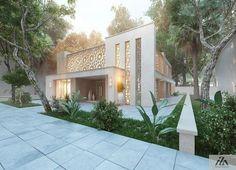 Modern Moorish influence in architecture Modern Architecture Design, Islamic Architecture, Modern House Design, Modern Exterior, Exterior Design, Interior And Exterior, Wall Exterior, Villa Design, House Elevation