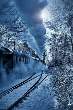 Steam Powered Locomotive in winter. Image Train, Old Trains, Train Pictures, Winter Scenery, Snow Scenes, Winter Pictures, Train Tracks, Winter Landscape, Model Trains