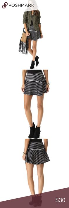 "•Free People• NWT Stripe Woven Bento Skirt Free People NWT Textured Stripe Woven Benton Skirt. Hidden side zip closure, based waist with contrast Hem, wrap front construction, allover textured stripe, Approximately 14"" Length. 100% Cotton. Free People Skirts"
