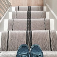 I love a great stair runner. Carpets and rugs with #stripes are grabbing my attention today. This one is by Roger Oates makes a statement without shouting. #Flooring