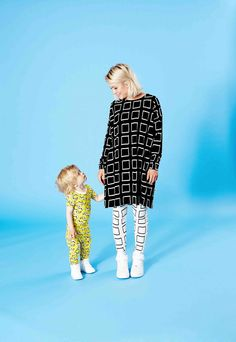 Mainio family style with a capsule adult collection for spring 2017 and minime kids Babies Fashion, Crazy Outfits, Cool Baby Stuff, Spring Fashion, Photoshoot, Black And White, Yellow, Kids, Clothes