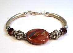 Kazuri Bracelet - Sterling Silver - Burgundy on Etsy, $40.00