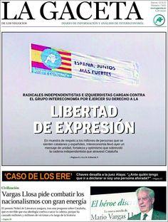 Los Titulares y Portadas de Noticias Destacadas Españolas del 12 de Septiembre de 2013 del Diario La Gaceta ¿Que le pareció esta Portada de este Diario Español?