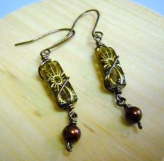 Antique COPPER And Amber CZECH Glass Earrings by Beads4You2008,