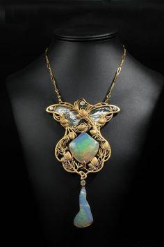 Exceptional Art Nouveau pendant in matte gold enamel decorated with vegetal decoration of two opals and four old cut diamonds Le Brech & Associates, Jewelry, Paris, Nov 3rd