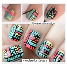 How to: Tribal nail art design manicure