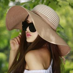 Striped straw hats for women summer UV wide brim sun hats