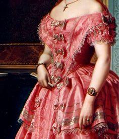 Portrait of a Lady by Angel Maria Cortellini Hernandez, 1855 (detail)