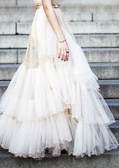 Multi Tiered Tulle with swiss dot wedding gown Mode Inspiration, Wedding Inspiration, Wedding Ideas, Pretty Dresses, Beautiful Dresses, Bridal Gowns, Wedding Gowns, Wedding Skirt, Tulle Wedding