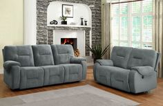 HE-9634-3PW  BENSONHURST COLLECTION  PWR DUAL RCLNR SOFA, TEXTR MCFB Ease into joyous comfort with the Bensonhurst Collection. This power motion group gently reclines with the push of a button. Overstuffed seating, back and arms are covered in a cool blue grey imprinted fabric. Combined with your personal d'cor, this comfortable seating group will blend effortlessly in your living room. Finish: Blue Grey Microfiber Dimensions: 85 x 38.5 x 38H BOX DIM: 81.5 x 30.5 x 28