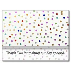 An elegant and stylish wedding  postcard with colorful confetti dots background.Personalize with your thank you message,bride and groom names and wedding date. The gold,silver and multicolor dots add a cheerful look to your wedding  thank you postcards.