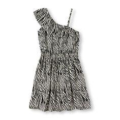 Girls Sleeveless Cross-Ruffle Zebra Print Dress - White - The Children's Place