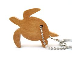 Sea Turtle Key Chain Wood Scroll Saw Outline by OohLookItsARabbit