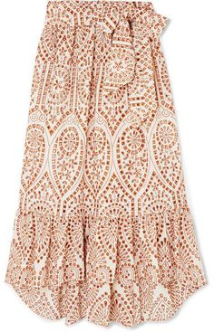 bf503865bf7f9 Lisa Marie Fernandez Nicole Embroidered Broderie Anglaise Cotton Maxi Skirt  - Orange