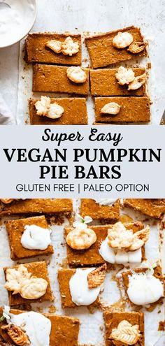These secretly vegan easy pumpkin pie bars are packed with the delicious fall flavors you love from classic pumpkin pie yet in bar form! Easier than making a pumpkin pie, yet tastes just the same! Low sugar and low fat, these healthy pumpkin pie bars are the perfect healthy fall dessert recipe! #pumpkinpie #vegan #falldessert #fallrecipes