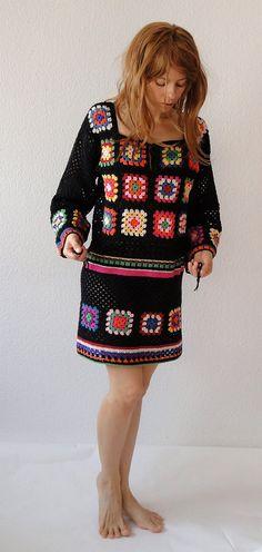 Vestido Crochet túnica hippie jumper de gypsy camisola por GlamCro no Etsy