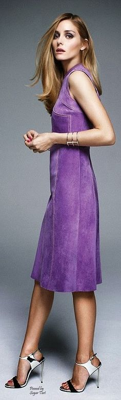 violet dress @roressclothes closet ideas women fashion outfit clothing style apparel Olivia Palermo for Flare Mgzn.