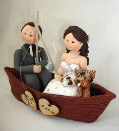Personalised bride and groom on boat with dog by ALittleRelic