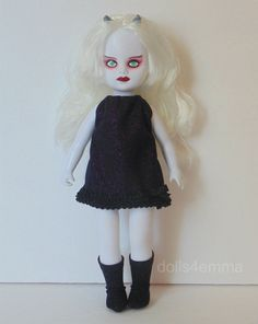 LITTLE BLACK BOW - Goth Dress and Boots for Living Dead Dolls (one set on Ebay and one set on Etsy): by dolls4emma.