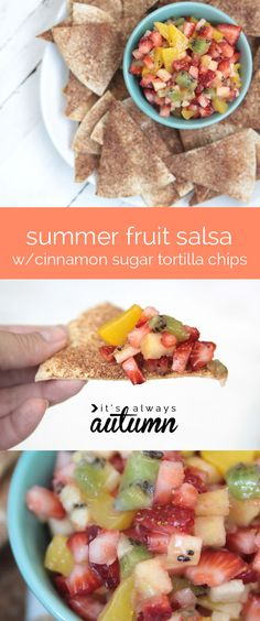 summer fresh fruit salsa with cinnamon sugar tortilla chips - so delicious, and healthy, too!
